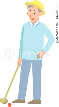 打地面高爾夫球的老人 66201332