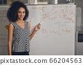 Joyful business lady standing by the whiteboard 66204563