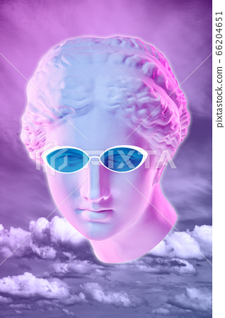 Collage with plaster antique sculpture of human face in a pop art style. Creative concept colorful neon image with ancient statue head. Zine culture. Cyberpunk, webpunk and surreal style poster. 66204651