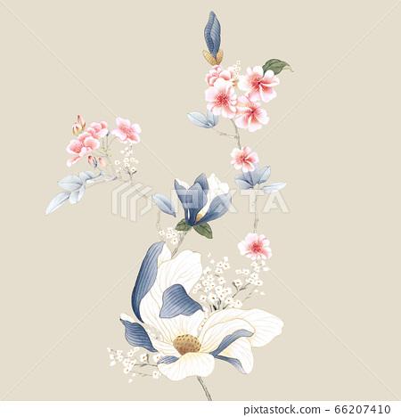 美麗的水彩玫瑰花和牡丹花 66207410
