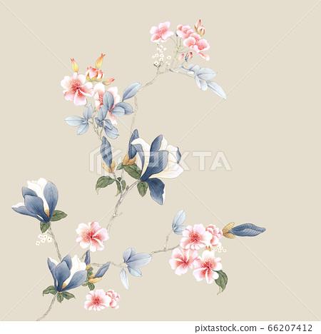 아름다운 수채화 장미와 작약 꽃 66207412