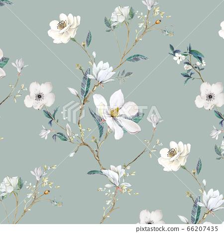 아름다운 수채화 장미와 작약 꽃 66207435