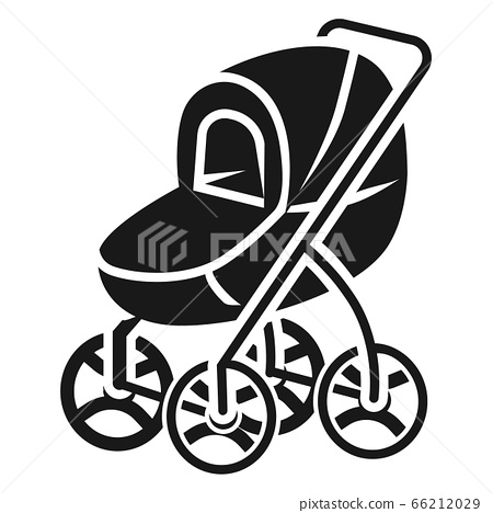 Stroller with large wheels icon, simple style 66212029