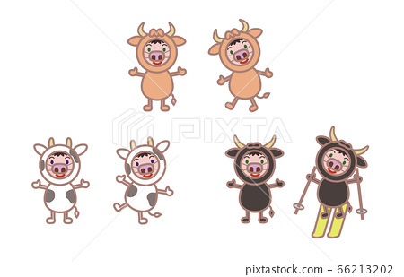 소 인형을 입은 캐릭터 일러스트 66213202