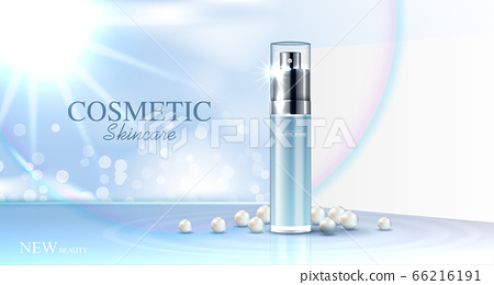 Hydrating facial pearl cream for annual sale or festival sale. blue cream mask bottle isolated on glitter particles background for product presentation. Graceful cosmetic ads, Vector illustration 66216191