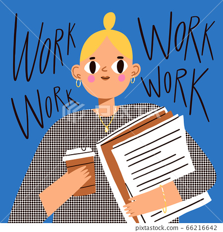 Office girl worker with documents and coffee, 66216642