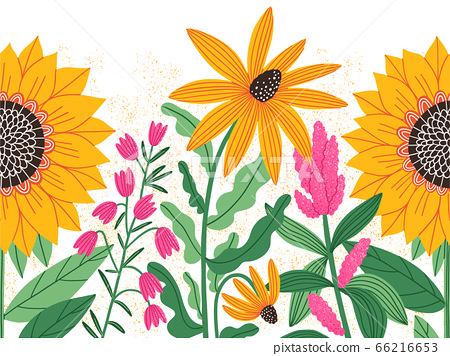 Bright summer flowers, vector seamless decorative 66216653