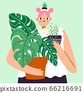 Lovely girl with a lot of house plants, plant 66216691