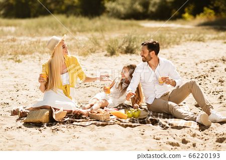 Family Having Summer Picnic Sitting On Blanket Talking In Countryside 66220193