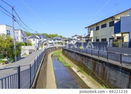 Landscape of blue sky and Zenpukuji River (Suginami Ward, Tokyo) 66221216