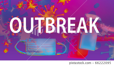 Outbreak theme with face mask and spray bottle 66222095