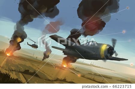 helicopter shooting to airplane over  Asia's paddy , aircraft war. 66223715