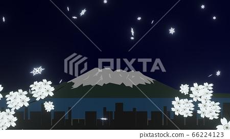 在鹿兒島的冬夜天空中飛舞的雪花,3D渲染 66224123