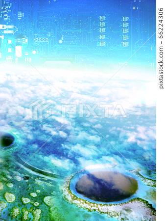 Blue hole sea and electronic blue sky 66224306