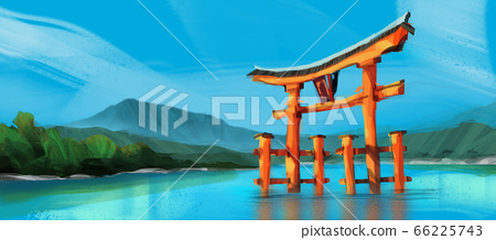 red torii gate of Hakone shrine at Ashi lake while cloud against sunny blue sky, 66225743
