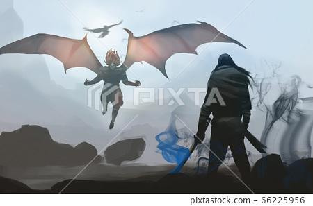 a samurai against last devil's boss, ready to fighting. 66225956
