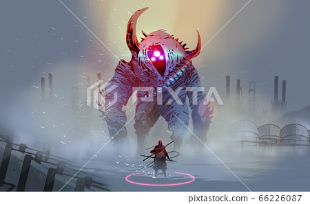 a warrior with a giant monster in blizzard against abandoned factories.  66226087