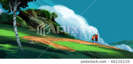 a couple standing on the high hill against mountains and blue sky,  66226120