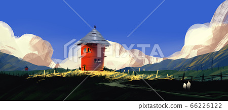 red house on hill with meadow against blue sky and puffy clouds, 66226122
