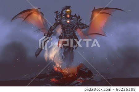a god of fire summoning from lava against mist. 66226388