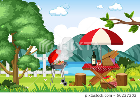 Scene with BBQ grill and food on picnic table 66227202