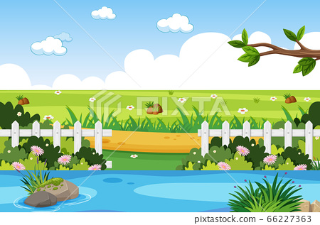 Background scene with river in the park 66227363