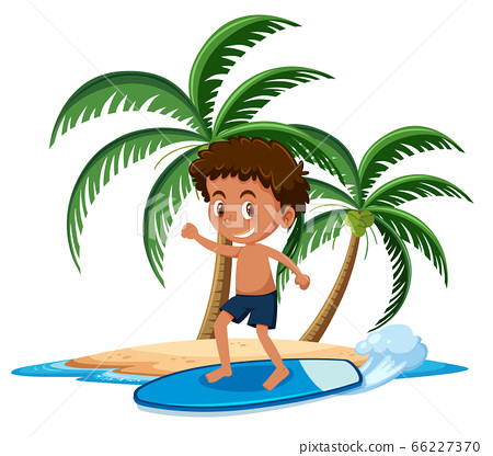Boy on the tropical island surfing cartoon 66227370