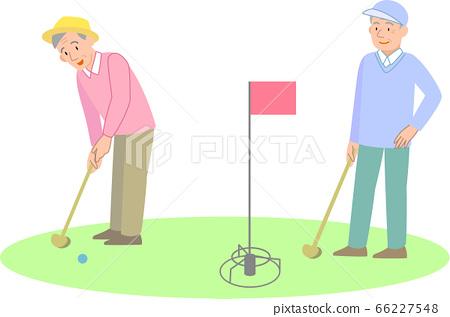 打地面高爾夫球的老人 66227548