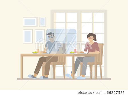Couple in new normal restaurant 66227583