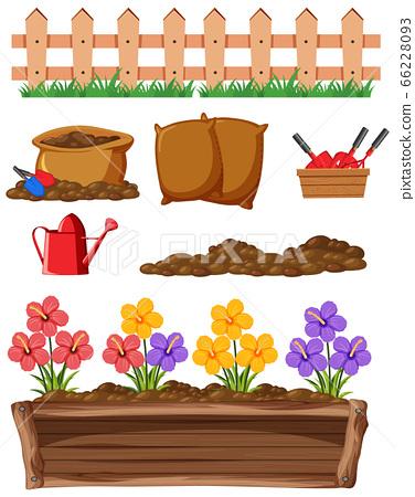 Set of gardening items on white background 66228093