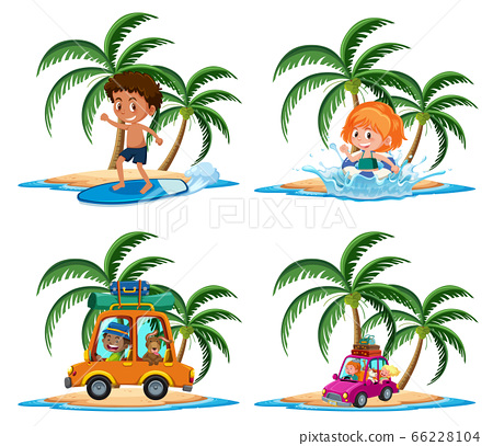 Group of kids vacation activities on the tropical 66228104