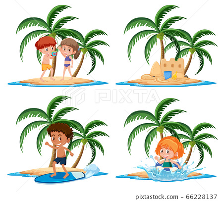 Group of kids vacation activities on the tropical 66228137