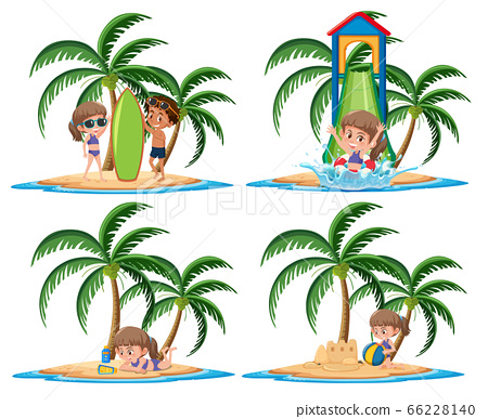 Group of kids vacation activities on the tropical 66228140