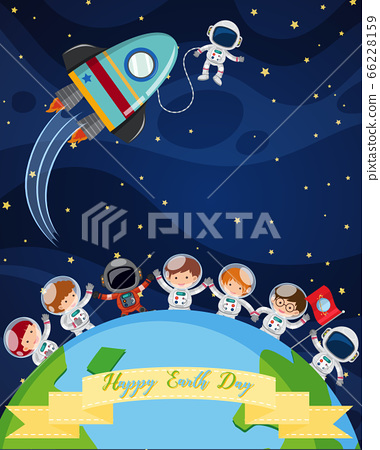 Scene with astronauts in dark space for Earth day 66228159