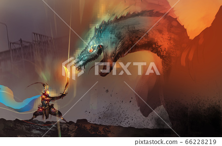 a dragon slayer fighting with boss of dragon in video game, against ruins city. 66228219