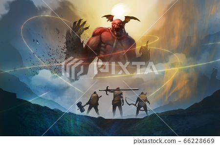 group of warriors encounter red demon from hell, against the moon with midnight, trying arrest them by magic spells. 66228669
