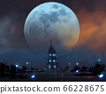 cemetery in night scene with ghosts's spirits against big blue moon, 66228675