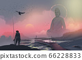 fisherman standing on the rock and looking at to big statue of Buddha statue, against sunset. 66228833