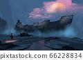 a boy looking at to the big ruins ship. 66228834