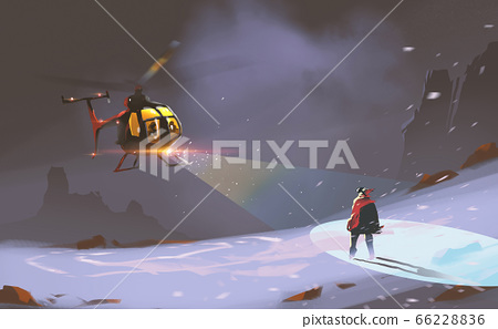 rescue teams used helicopter met a man in blizzard against cold night.  66228836