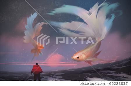 a man standing on the snow mountain, against giant Betta fishes flying in the sunset sky. 66228837