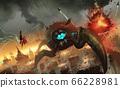 Digital illustration painting design style big monster invading big city. 66228981