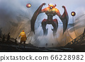 Digital illustration painting design style a engineer against big robot and alien's technology in mysterious place. 66228982