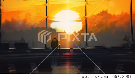 Digital illustration painting design style a man standing and looking to outside the airport against sunset. 66228983