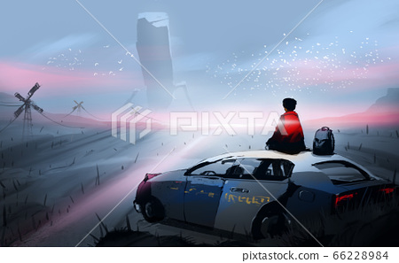 Digital illustration painting design style a a man sitting on roof of the old police car, against aliens's robot. 66228984