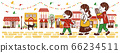 Parents and children enjoying shopping in a lively cityscape 66234511