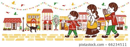 번화 한 거리에서 쇼핑을 즐길 부모와 자식 66234511