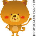 Illustration of a Pomeranian standing with one hand raised and smiling 66234640