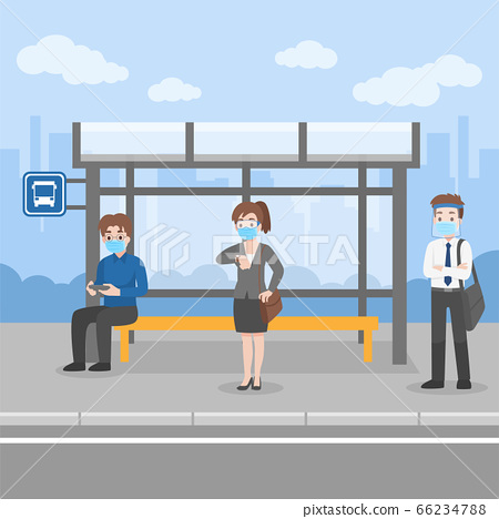 New normal life People waiting bus transport 66234788