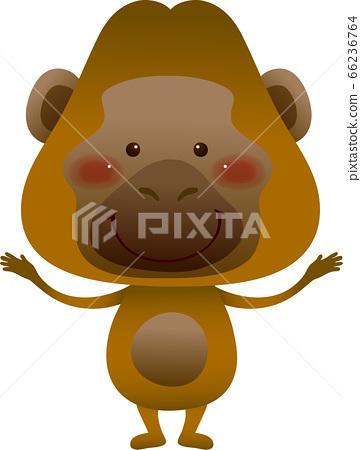 站立用他的手的猩猩的例證與他的正面飾物 66236764